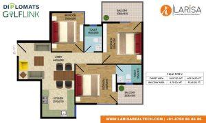 Diplomats Golf Link Floor Plan 3BHK TYPE 5