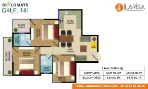 Diplomats Golf Link Floor Plan 3BHK TYPE 5(B)