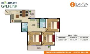 Diplomats Golf Link Floor Plan 3BHK TYPE 6
