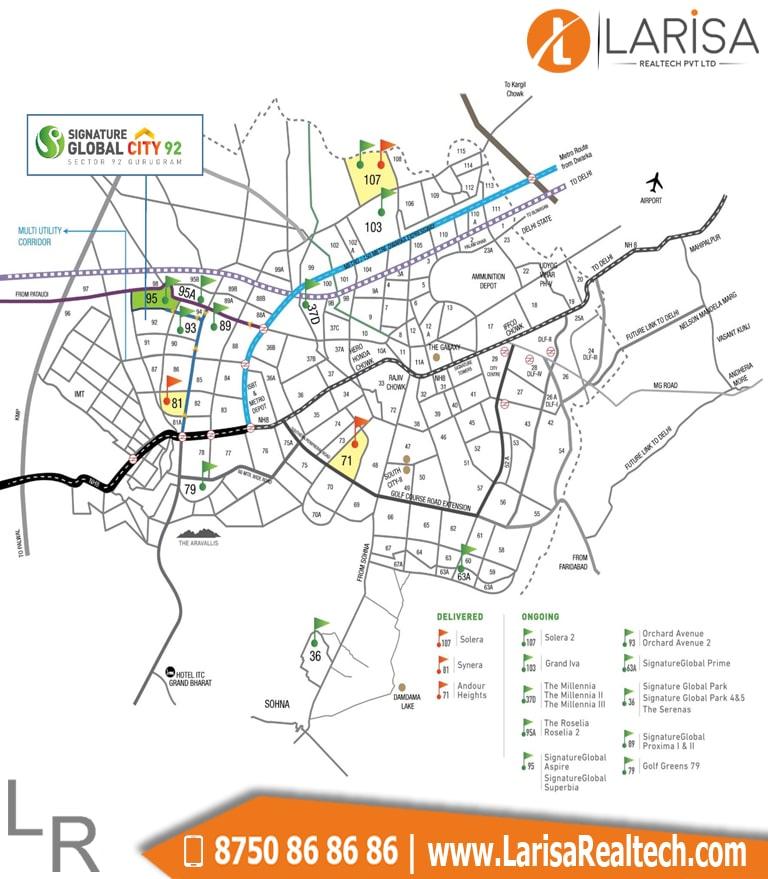 Signature Global City 92 Location Map