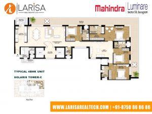 Mahindra Luminare FLOOR PLAN 4(TYPICAL 4BHK UNIT SOLARIS TOWER-C)