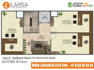 Signature Global City 81 TYPE B(ADDITIONAL SPACE FOR WORK FROM HOME)
