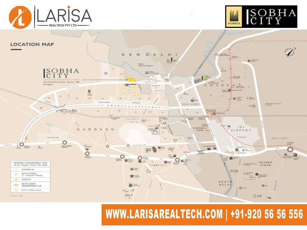 Sobha City 108 Location Map