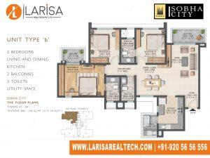 Sobha City 108 TOWER A1_UNIT TYPE B Floor Plan