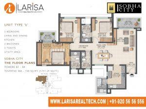 Sobha City 108 TOWER B1_UNIT TYPE B Floor Plan