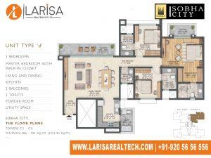 Sobha City 108 TOWER C1 UNIT TYPE D Floor Plan