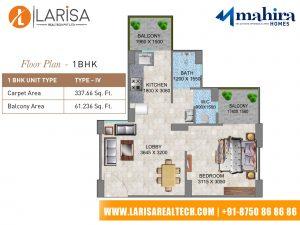 Mahira Homes 104 1BHK Floor Plan