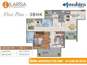 Mahira Homes 104 3BHK(TYPE 2) Floor Plan