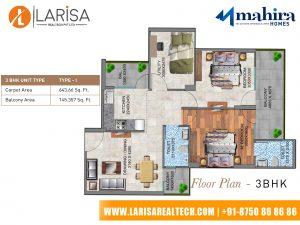 Mahira Homes 104 3BHK(Type1) Floor Plan